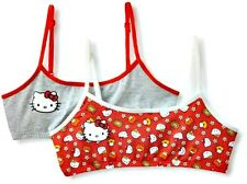 NEW NWT HELLO KITTY 2-PK.Flower and Friends Crop Bras Girls SZL $13 RED/GRY