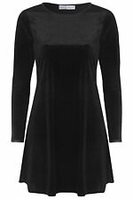 NEW WOMEN LADIES BLACK VELVET SWING BAGGY CASUAL SKATER FLARED DRESS TOP