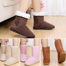 Winter Women Girls Ladys Suede Mid Calf Warm Snow Boots Shoes
