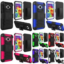 Colorful Hybrid Hard Dual Layer Plain Holster Case For Samsung Galaxy Core Prime