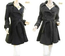 Wool Blend Outerwear Double Breast Slim Fitted Trench Dress Coat Peacoat Jacket