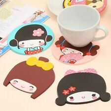 1PCS Cute Girl Silicone Rubber Drink Coaster Cup Mat Pad for Mug Glass Plate