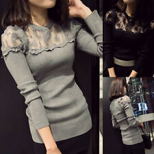 New Women Sexy Lace Sheer Splicing T Shirt Long Sleeve Slim Knitwear Tops Blouse