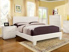 Beautiful New Contemporary Leather Faux White Platform Bed Set Twin Queen Full