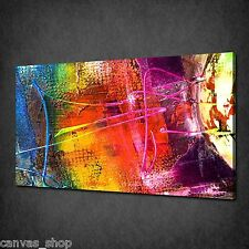 ABSTRACT COLOURFUL PAINTING TEXTURE WALL ART CANVAS PRINT PICTURE READY TO HANG