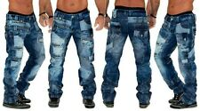 New Mens KM001 Kosmo Lupo Designer Embroidered Denim Blue Jeans Waist Size 30 38