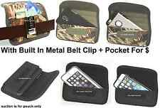 Holster With Metal Belt Clip Horizontal Pouch To Fit With Rubber Case Cover New