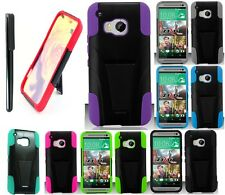 For HTC One M9 Color Double Layer Hybrid Stand Hard Cover Case FREE Stylus Pen