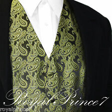 Olive Green Paisley Tuxedo Suit Dress Vest Waistcoat Formal Party Prom Wedding