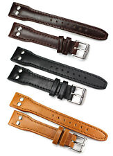 18mm, 20mm, 22mm, 24mm AVIATOR PILOT GENUINE LEATHER style quality BAND IW