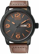 Citizen Eco-Drive Black Military Brown Leather 100m Watch  BM8476-07E BM8475-26E