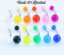 Surgical Steel BELLY Naval Bar With UV Acrylic Balls