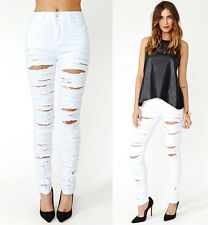 White Destroyed Ripped High Waist Stretch Skinny Pencil Jeans Denim Pants NWT