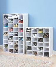 White Shoe Storage Chest 24 or 36 Pair Shoe Organizer Closet or Bedroom