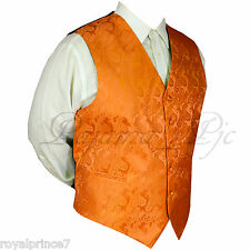 ORANGE Paisley Tuxedo Suit Dress Vest Waistcoat Formal Prom Wedding Prom XS - 6X