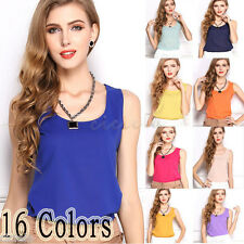 Fashion Sexy Womens Summer Casual Chiffon Vest Tops Tank Sleeveless Shirt Blouse
