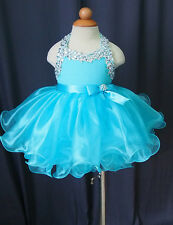 Infant/toddler/newborn/baby/kids Girl's pageant dress Pink/Blue Size 1~5T G079