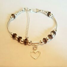 sterling silver stacking bead charm bracelet smokey quartz various new designs
