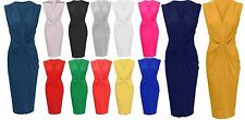 Ladies V neck low cut ruched waist knot midi dress bodycon party celeb glam