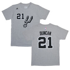 San Antonio Spurs Tim Duncan Gray Name and Number T-Shirt