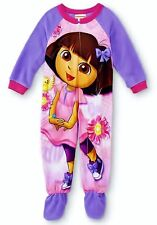 DORA the EXPLORER Footed Pajamas Fleece Blanket Sleeper Toddlers Sz 3T or 4T $24
