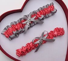 NEW Gorgeous Coral Silver Wedding Garter Prom Homecoming GetTheGoodStuff A+