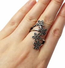 Lady Special Charming Tibet Silver/Bronze Flower Plant Rolling Ring Gift