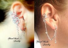 HandMade Clip on  Aluminium wire Ear cuff OWL STAR HEART with SILVER chain