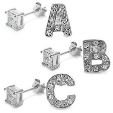 925 Sterling Silver Initial & 0.40 Carat Princess Cut CZ Earring