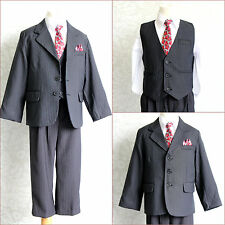 Elegant  PT1 Boy black pinstripe/white/red tie wedding recital party formal suit