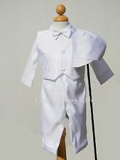 New Baby Boys Infant Christening Baptism White Outfit Dedication Dove w/ Cross