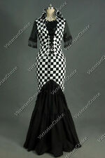 Edwardian Victorian Gown Dress Reenactment Clothing Halloween Costume PUNK 177