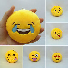 Hot Emoji Smiley Emoticon Yellow Round Cushion Stuffed Plush Toy Doll Keychain