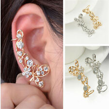 Fashion Stud Crystal Cute Butterfly Flower Clip Ear Cuff Earring Wrap Girl Gift