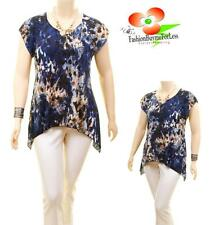 Women PLUS Faux Silk Knit Jersey Asymmetric Navy Abstract Tunic Blouse Shirt Top