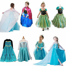 Kids Girls Costume Cosplay Party Anna Elsa Princess Frozen Queen Fancy Dress