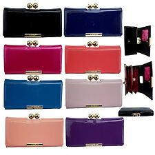 LYDC Ladies Designer Ball Clasp Large Patent Faux Leather Purse Wallet