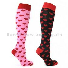 Knee High Cotton Rich Welly Festival Socks - Red Hearts on Pink or Black