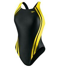 Speedo Quantum Spliced Racing Swimsuit LYCRA Size 8 /34 Black/Gold $68