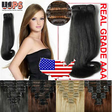 Clip In Remy Human Hair Extensions Full Head Real Thick Double Weft 130-200g E26