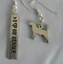 Beagle, I love my beagle silver tone dog charms made in USA, Snoopy, earrings
