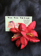 Pin Up Double Lily Hair Flower/Wedding/Rockabilly/White/Hot Pink/Red and Yellow