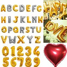 "16""/42""Gold/Silver Foil Letter Number Balloons Birthday Wedding Party Decoration"