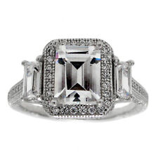 925 Sterling Silver Stunning 2.88 Ct. Emerald Cut CZ Engagement Ring