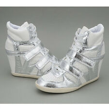 New Women's MAXSTAR Two Velcro Wedge Fashion Sneakers Hidden Heel High Top Shoes