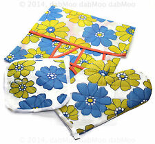 Kitchen Queen Hot Pot Holder Oven Mitten Double Gloves Apron Quilted Set