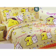 Sanrio Pom Pom Purin Fitted Sheet Pillow Case Duvet Cover Bedding Macaroon
