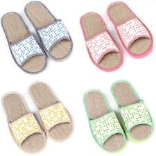 Hot Summer Womens Mens Refreshing Home Beach Slippers Linen Flax Flats Slippers