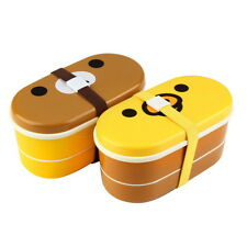 Lovely High Heat Resistance Double Layers Chopsticks Plastic Bento Lunch Box SI
