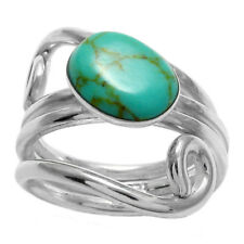 925 Sterling Silver Dual Swirl Turquoise Women's Ring Size 6-9